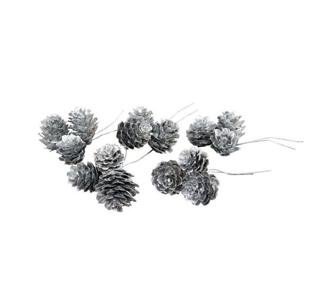 Lärkkottar silver på ståltråd, 5-pack