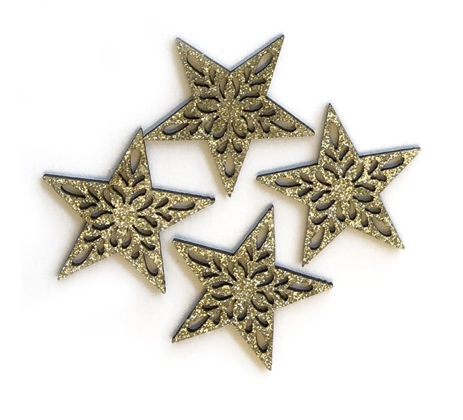 Konfetti guld stjärnor i trä, 12-pack