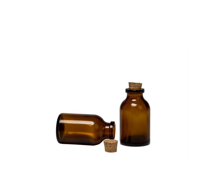 Glasflaska Mini Med Korklock Brun