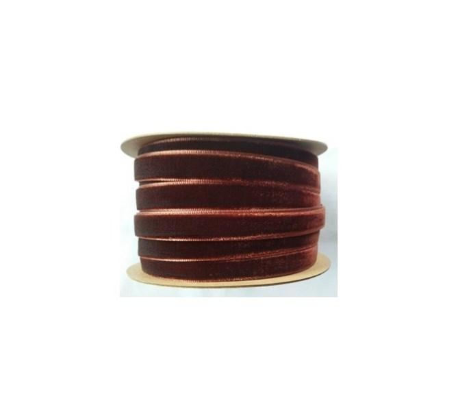 Band i sammet mörkbrun 10 mm, metervara