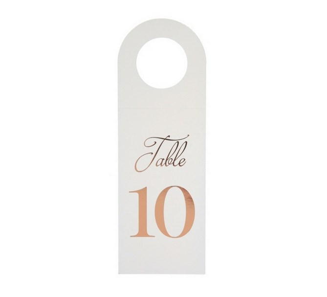 Bordsnummer 1-10 till flaskor vit/roséguld