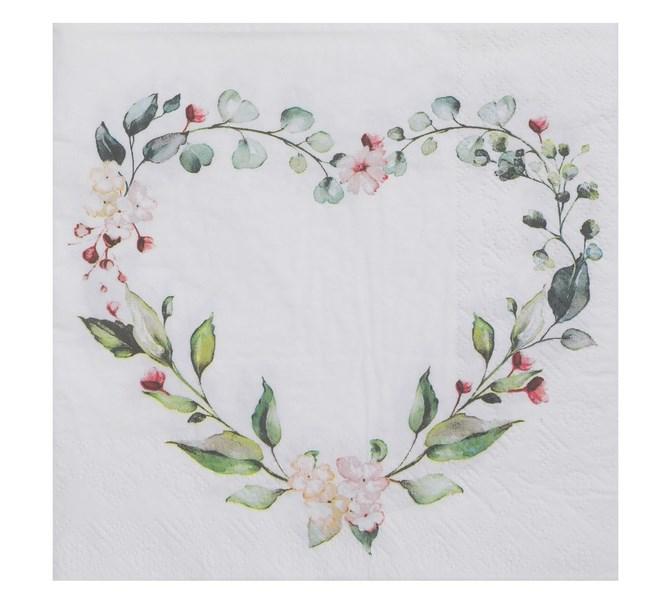 Servett hjärta av blommor och blad, 20-pack