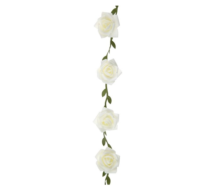Blomstergirlang med vita rosor, 120 cm.