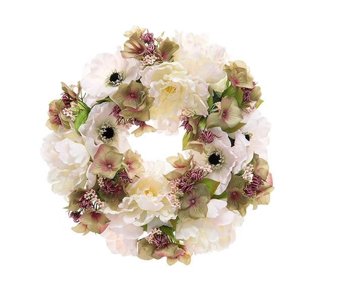 Krans konstgjord vit/lila, 30 cm.
