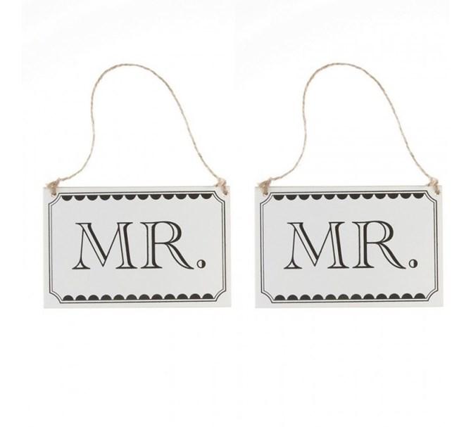 """Träskyltar """"Mr"""" och """"Mr"""""""