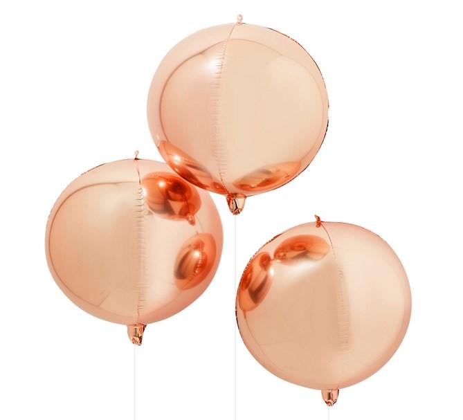 Folieballong rund rosé, 3st