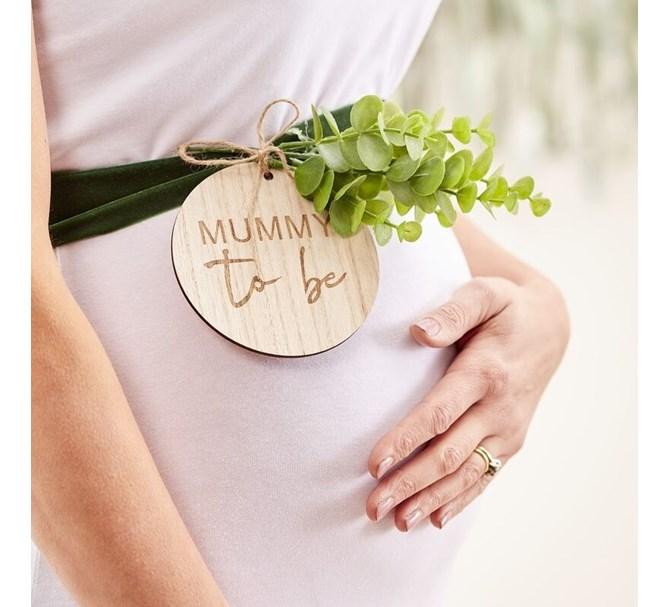 """Ordensband Mummy To Be"""" med märke i trä"""