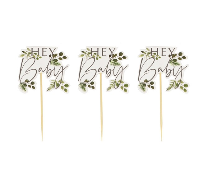 Cupcake toppers Hey Baby, 12-pack