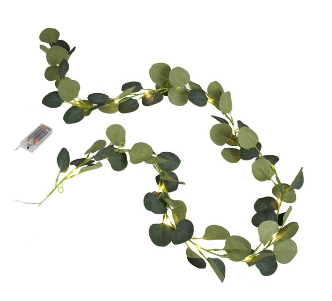 Konstgjord Eukalyptus girlang med LED-belysning