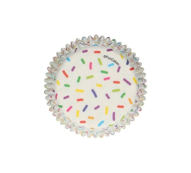 Muffinsformar vita med mönster av strössel