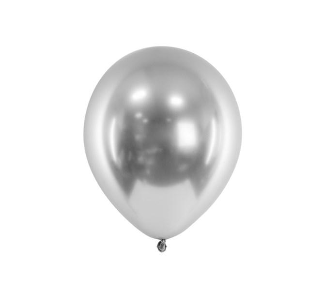 Glansiga ballonger silver 10-pack
