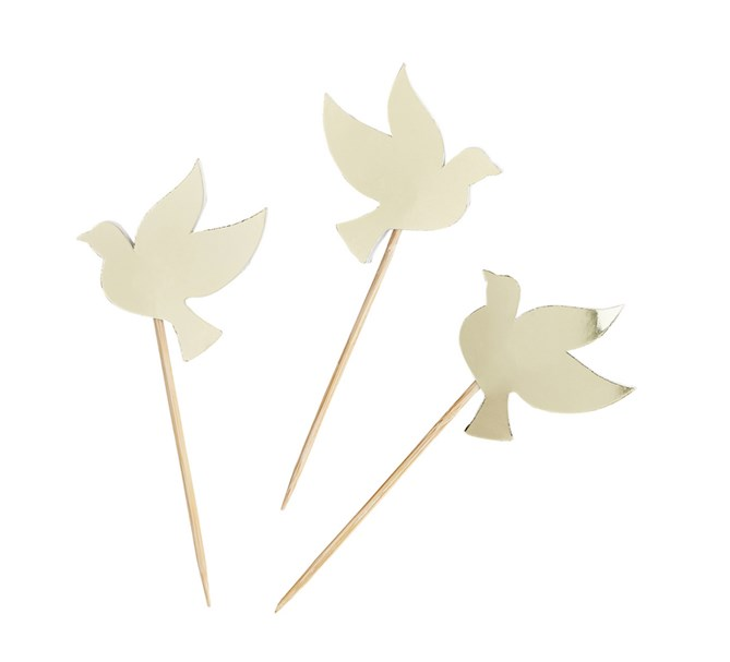 Cupcake toppers Duvor guld, 6-pack