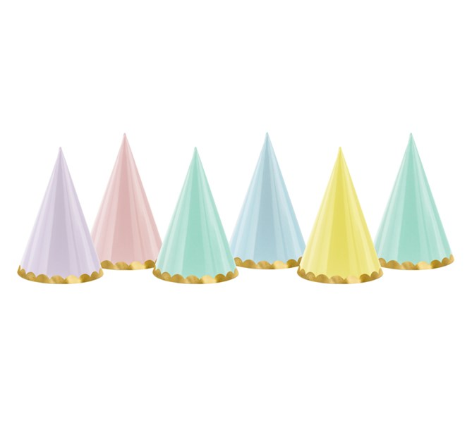 Partyhattar Pastell Mix, 6-pack