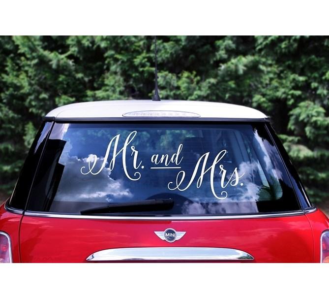 """Bildekal Bröllop """"Mr And Mrs"""""""