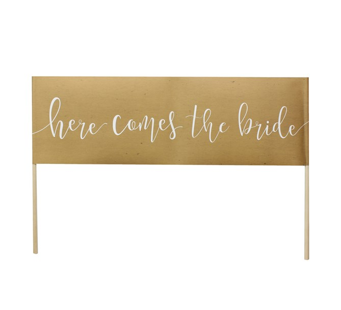 "Skylt ""Here comes the bride"" rustik/natur"