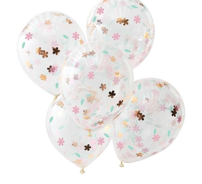 Konfettiballong ditsy floral, 5-pack