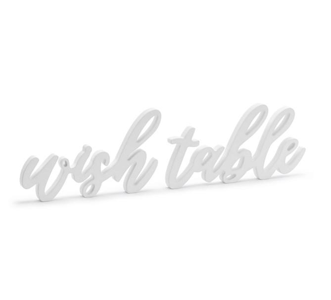 Skylt Wish table trä