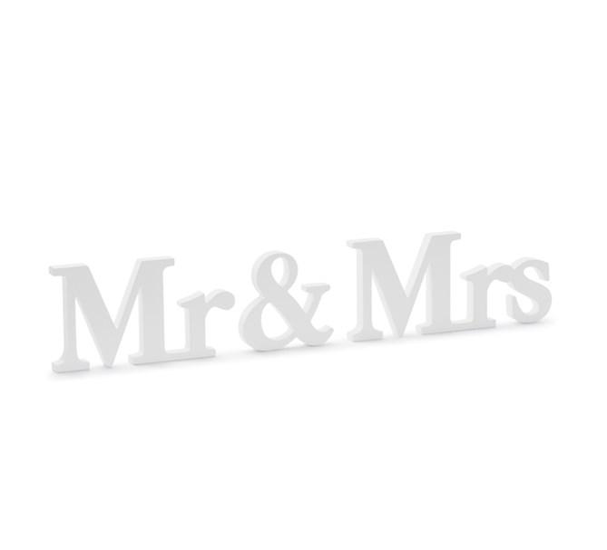 Träbokstäver Mr & Mrs (herr & fru) vita
