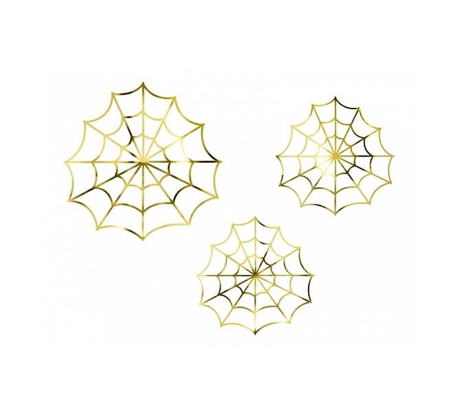 Halloween spindelväv i guld, 3st