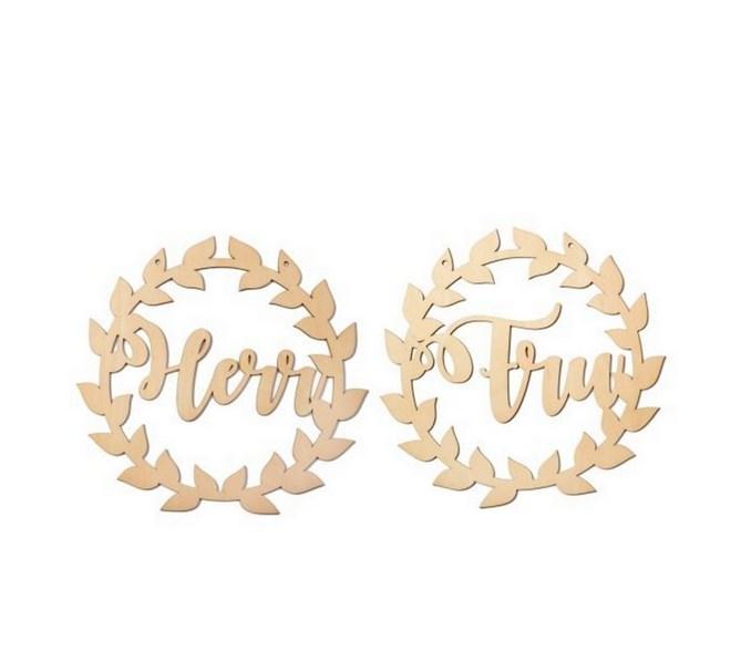 "Dekoration i trä rustik/natur ""Herr & Fru"""