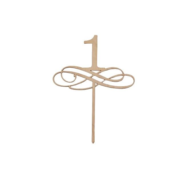 Tårtdekoration 1 år/bordsnummer i trä 1