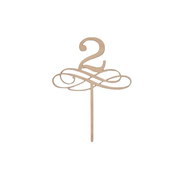 Tårtdekoration 2 år/bordsnummer i trä 2