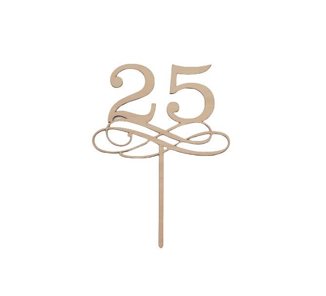 Tårtdekoration i trä 25 år