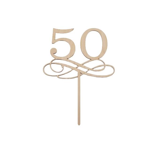 Tårtdekoration i trä 50 år