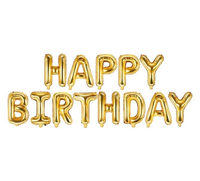 """Girlang av ballonger guld """"Happy Birthday"""""""