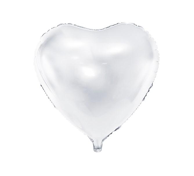 Folieballong Hjärta Vit
