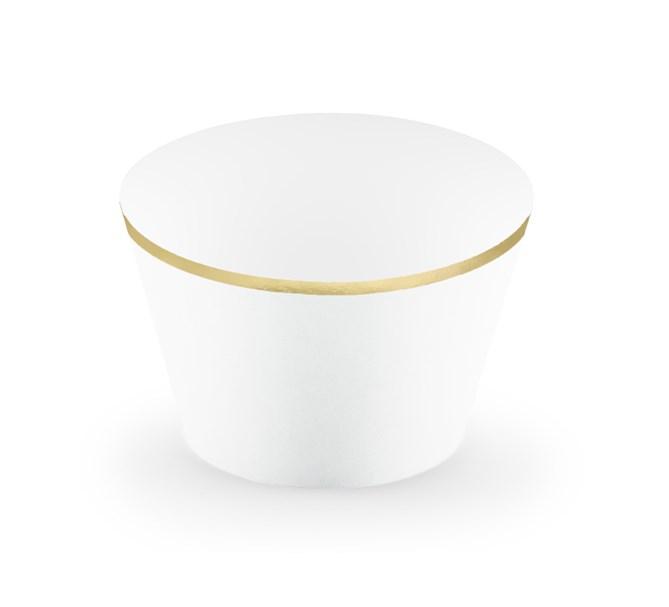Muffinsform vit/guld, 6-pack