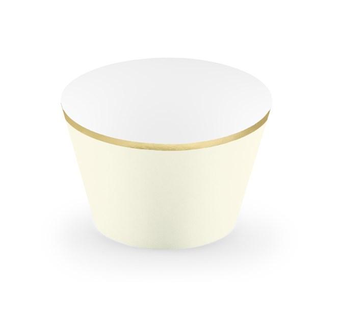 Muffinsform krämvit/guld, 6-pack