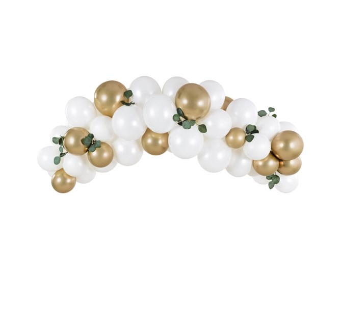 Ballonggirlang vit/guld, 2 m.