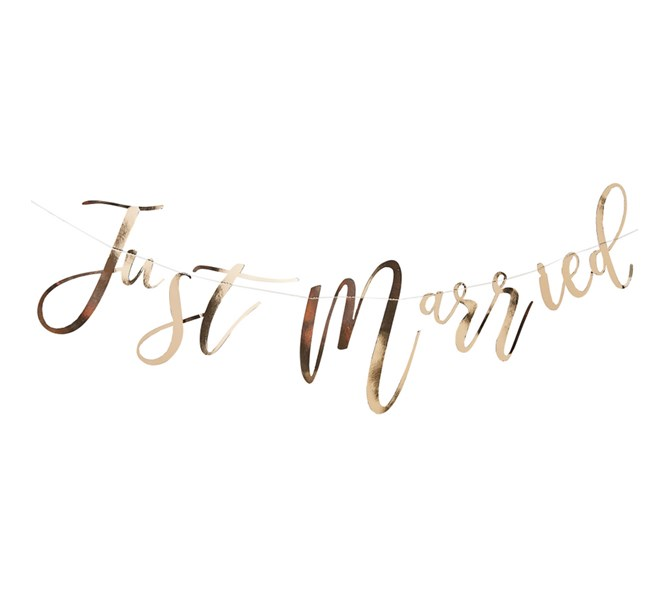 """Girlang """"Just Married"""" i guldtext"""