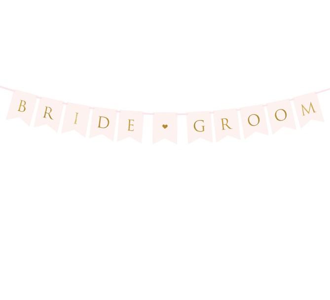 "Girlang ""Bride & Groom"" rosa/guld"