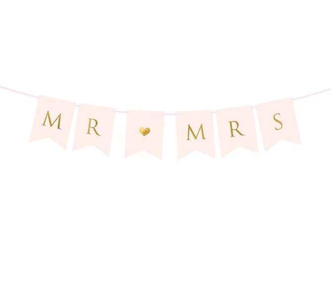 Girlang MR MRS rosa/guld