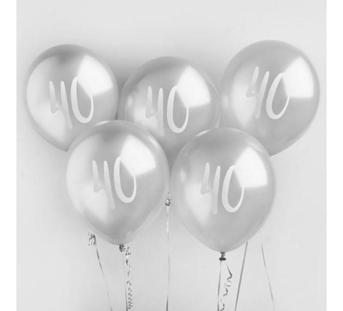 Ballonger silver 40år, 5st