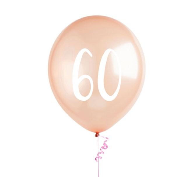 Ballonger roséguld 60 år, 5-pack