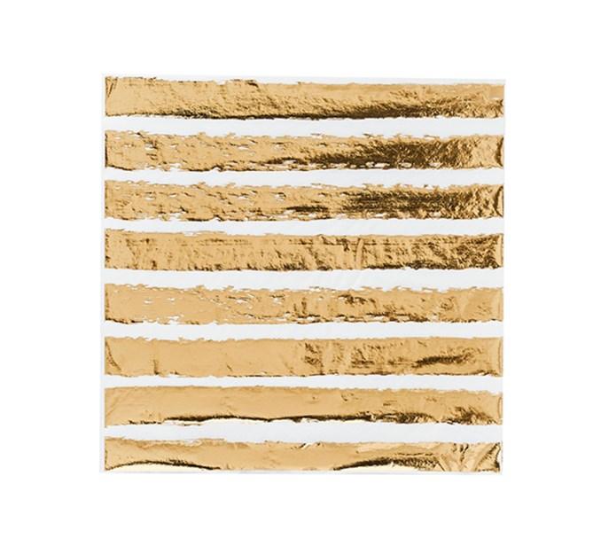 Servetter randiga guld 20-pack