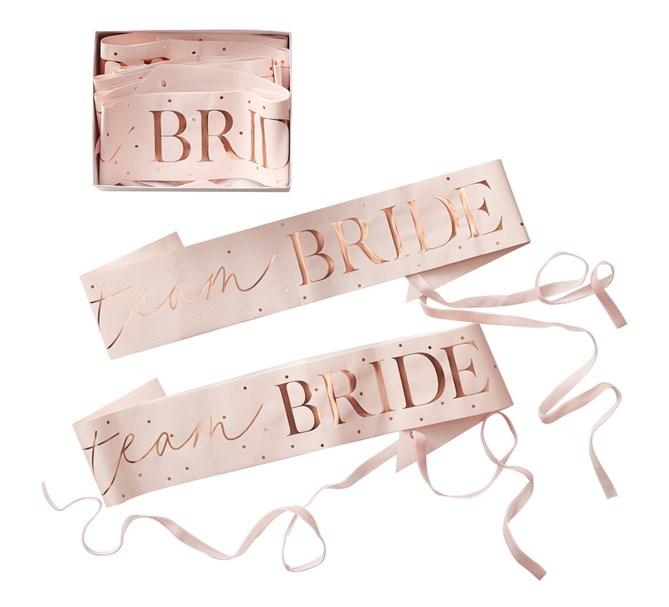 """Ordensband """"Team BRIDE"""" i rosé/rosa, 6-pack"""