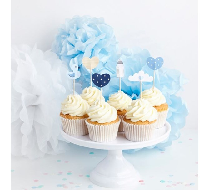 Cupcake toppers blå baby