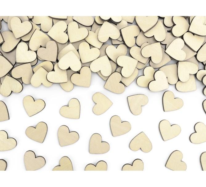 Konfetti trä hjärtan, 50-pack