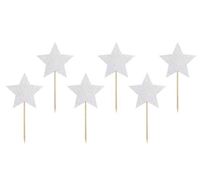Cupcake Toppers silver stjärnor, 6-pack