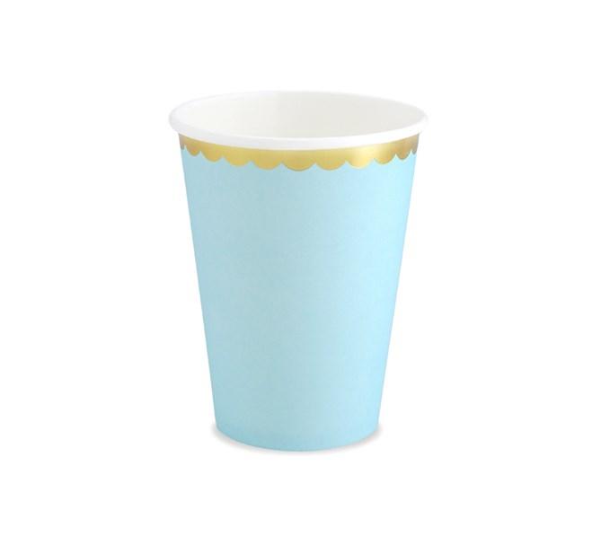Kalasmuggar ljusblå med guldkant, 6-pack