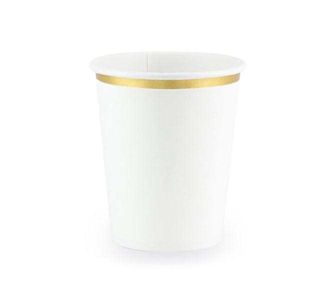 Engångsmugg vit med guld kant, 6-pack