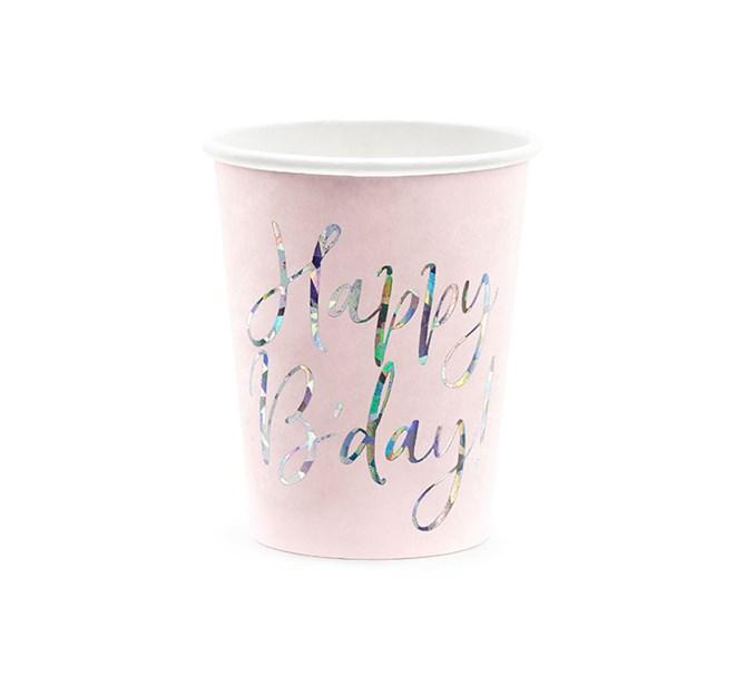 """Pappersmuggar """"Happy B'day!"""" rosa/holografiskt silver, 6-pack"""
