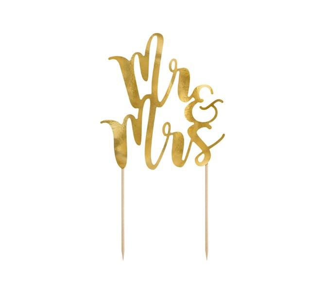 "Tårtdekoration ""Mr & Mrs"" Guld"
