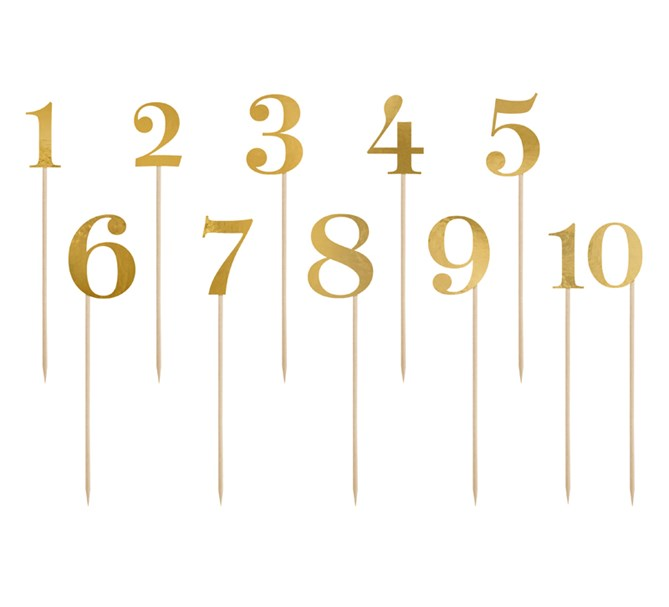 Siffror i guld 1 till 10