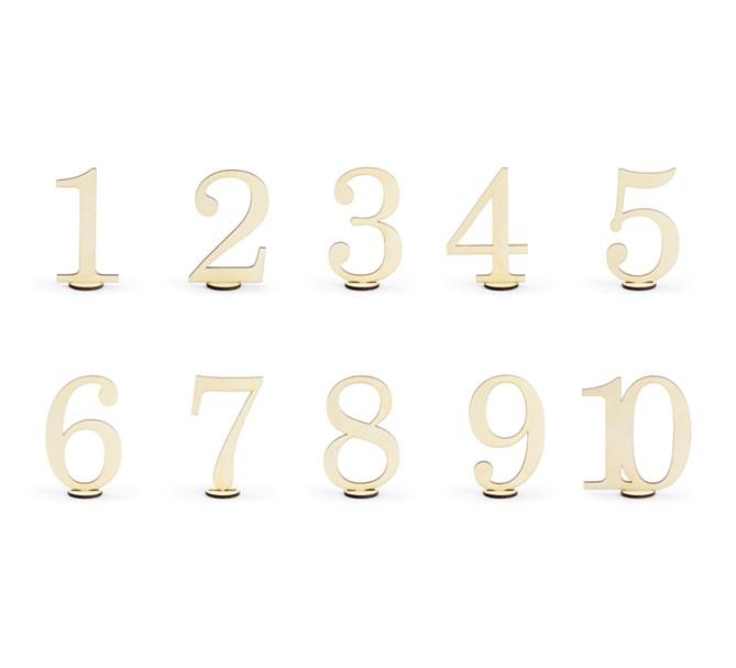 Bordsnummer 1-10 i trä
