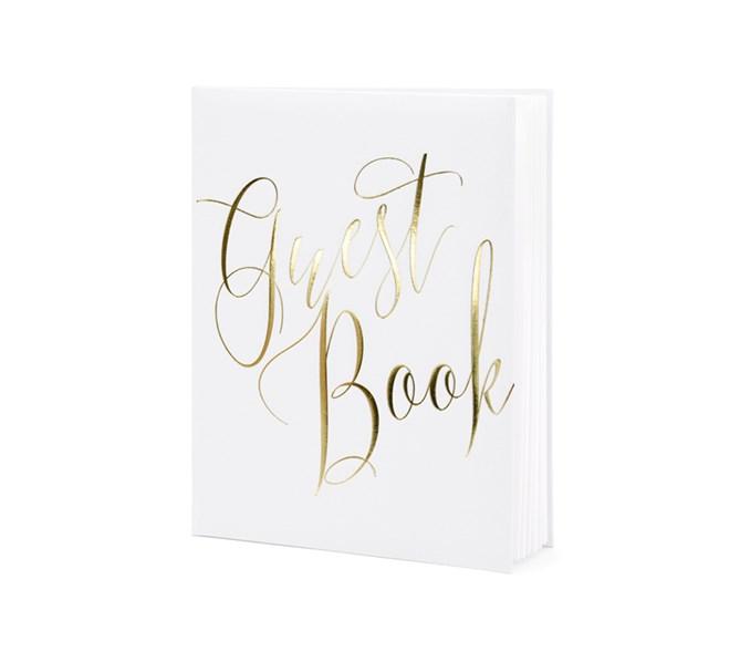 Gästbok vit med guld text
